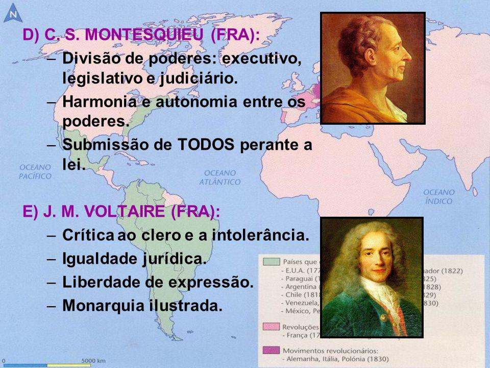 F) J.J. ROUSSEAU (FRA): –Soberania popular. –Poder = povo (democracia).