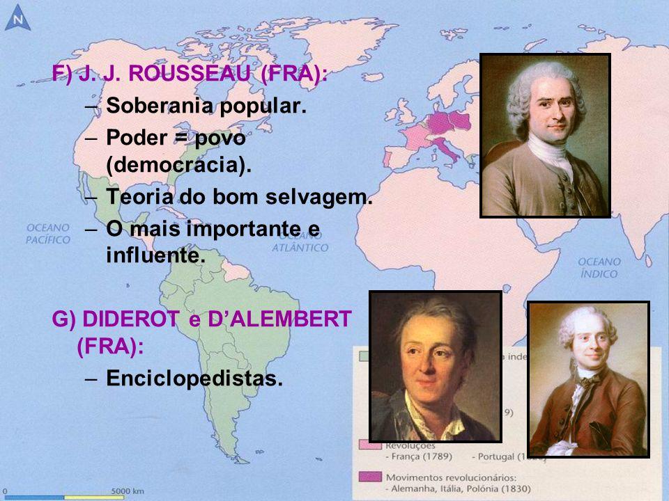 F) J. J. ROUSSEAU (FRA): –Soberania popular. –Poder = povo (democracia). –Teoria do bom selvagem. –O mais importante e influente. G) DIDEROT e DALEMBE