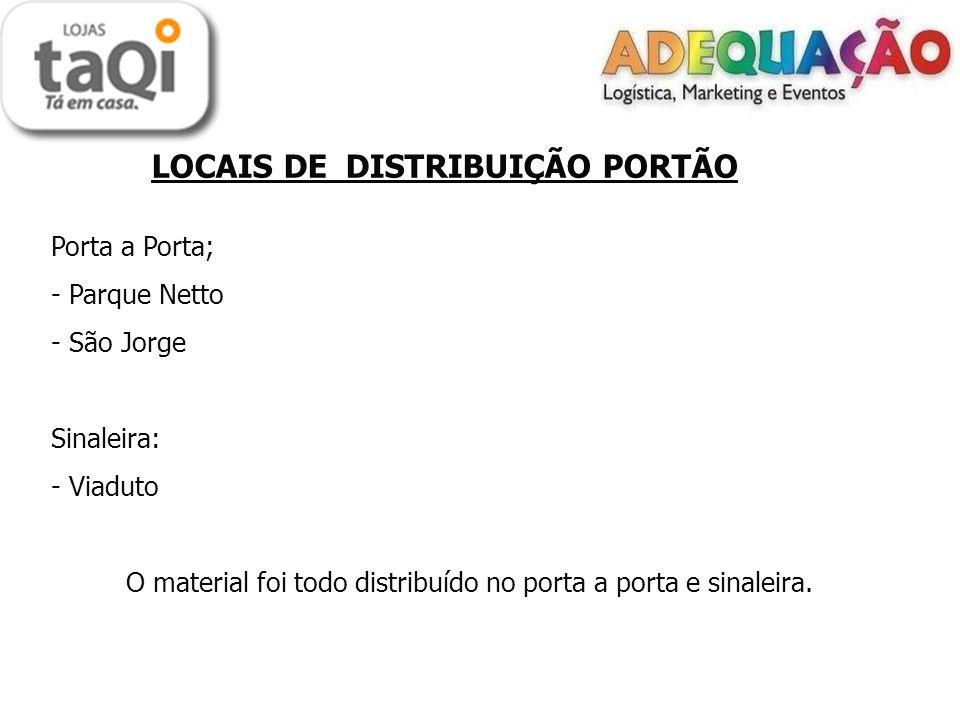 LOCAIS DE DISTRIBUIÇÃO PORTÃO Porta a Porta; - Parque Netto - São Jorge Sinaleira: - Viaduto O material foi todo distribuído no porta a porta e sinale