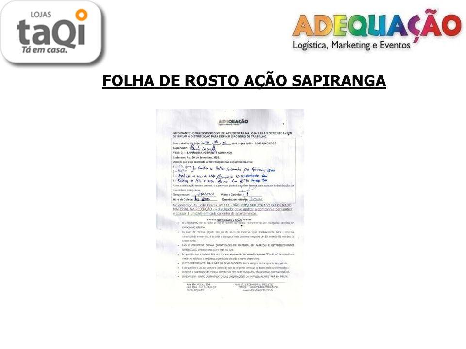 FOLHA DE ROSTO AÇÃO SAPIRANGA