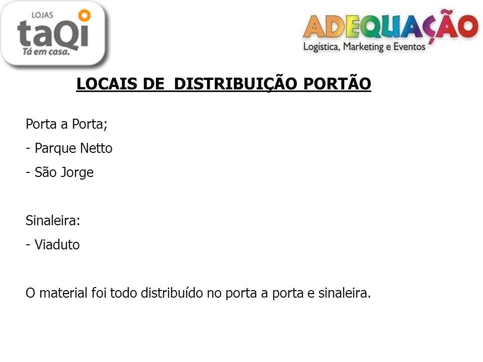 LOCAIS DE DISTRIBUIÇÃO PORTÃO Porta a Porta; - Parque Netto - São Jorge Sinaleira: - Viaduto O material foi todo distribuído no porta a porta e sinaleira.