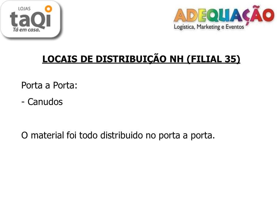 LOCAIS DE DISTRIBUIÇÃO NH (FILIAL 35) Porta a Porta: - Canudos O material foi todo distribuido no porta a porta.