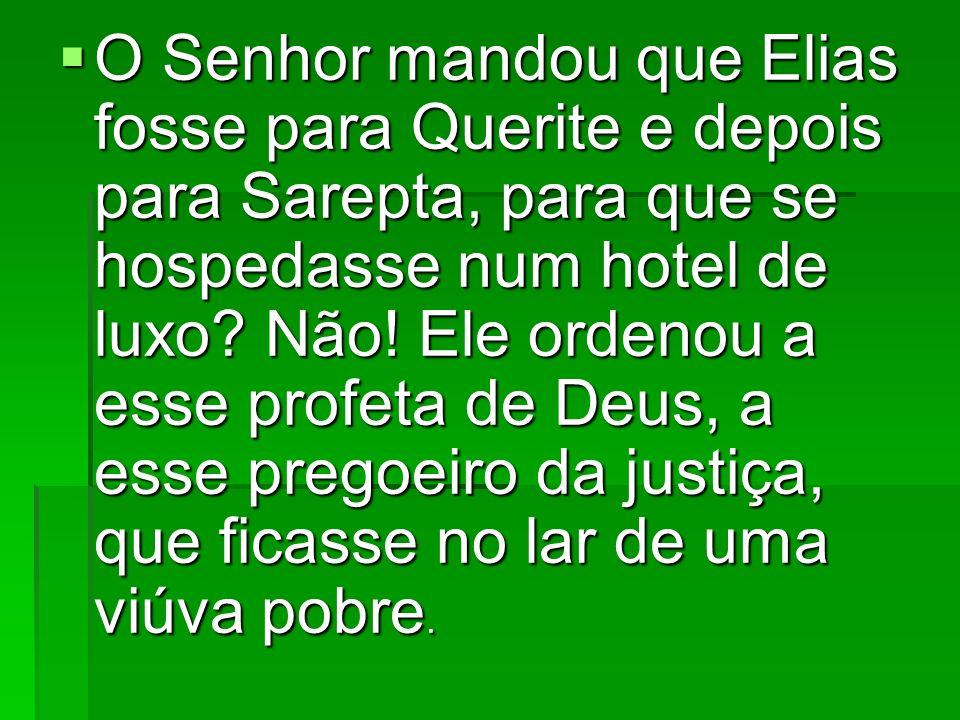O Senhor mandou que Elias fosse para Querite e depois para Sarepta, para que se hospedasse num hotel de luxo? Não! Ele ordenou a esse profeta de Deus,