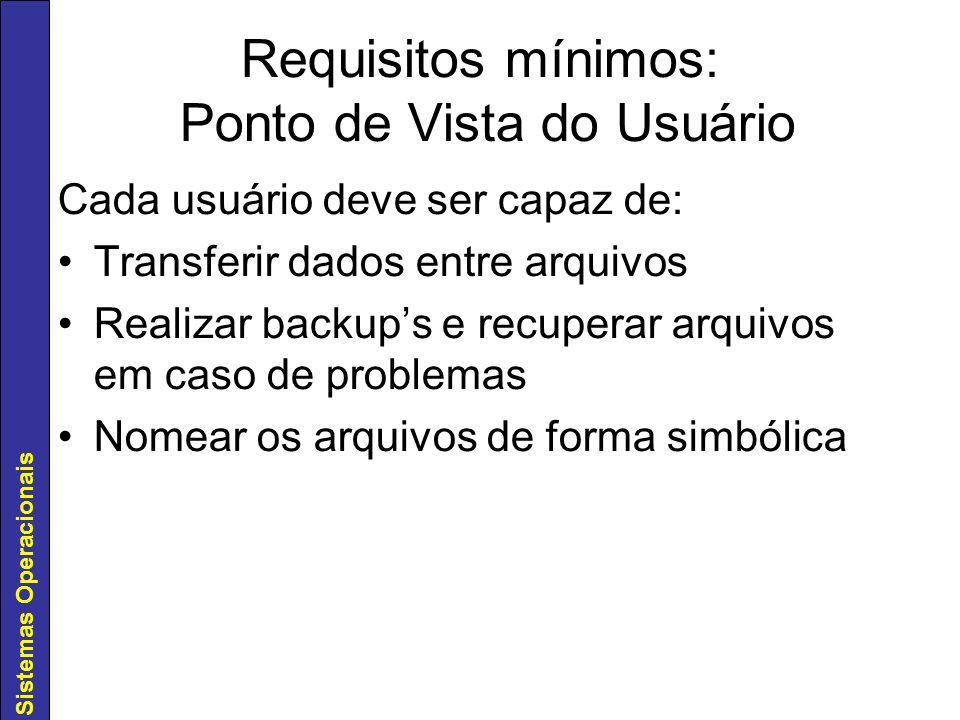 Sistemas Operacionais Requisitos mínimos: Ponto de Vista do Usuário Cada usuário deve ser capaz de: Transferir dados entre arquivos Realizar backups e