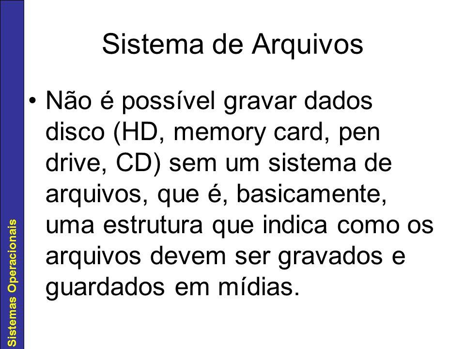 Sistemas Operacionais Sistema de Arquivos Não é possível gravar dados disco (HD, memory card, pen drive, CD) sem um sistema de arquivos, que é, basica