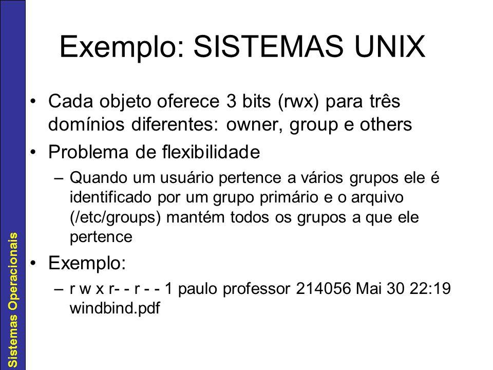 Sistemas Operacionais Exemplo: SISTEMAS UNIX Cada objeto oferece 3 bits (rwx) para três domínios diferentes: owner, group e others Problema de flexibi