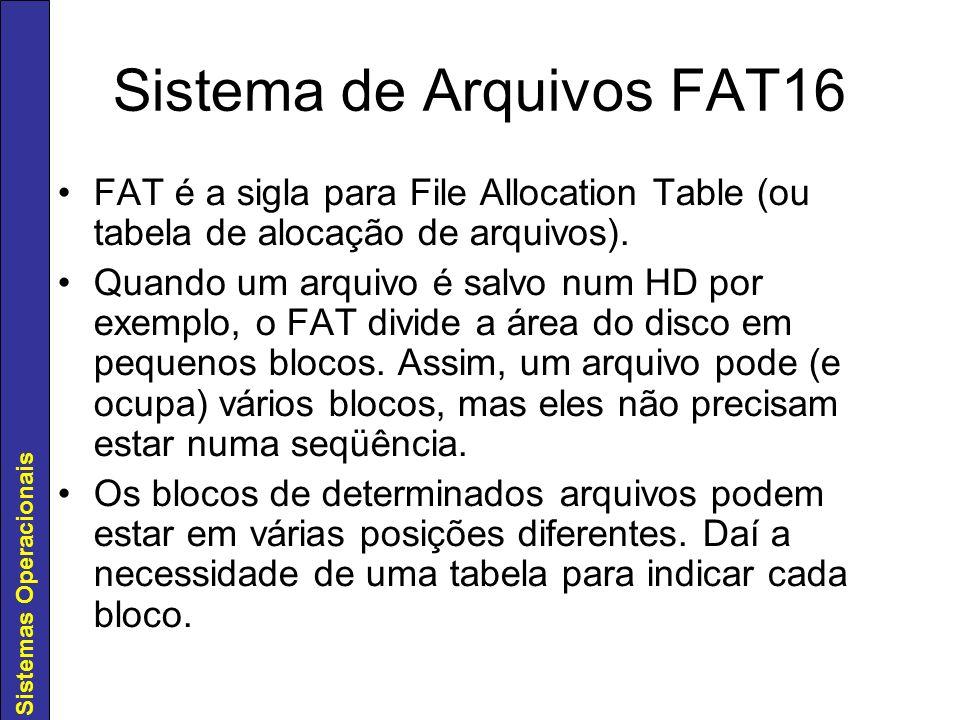 Sistemas Operacionais Sistema de Arquivos FAT16 FAT é a sigla para File Allocation Table (ou tabela de alocação de arquivos). Quando um arquivo é salv