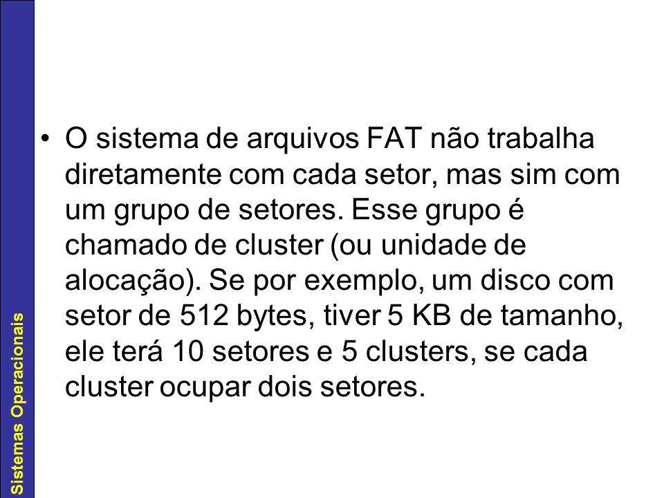 Sistemas Operacionais O sistema de arquivos FAT não trabalha diretamente com cada setor, mas sim com um grupo de setores. Esse grupo é chamado de clus