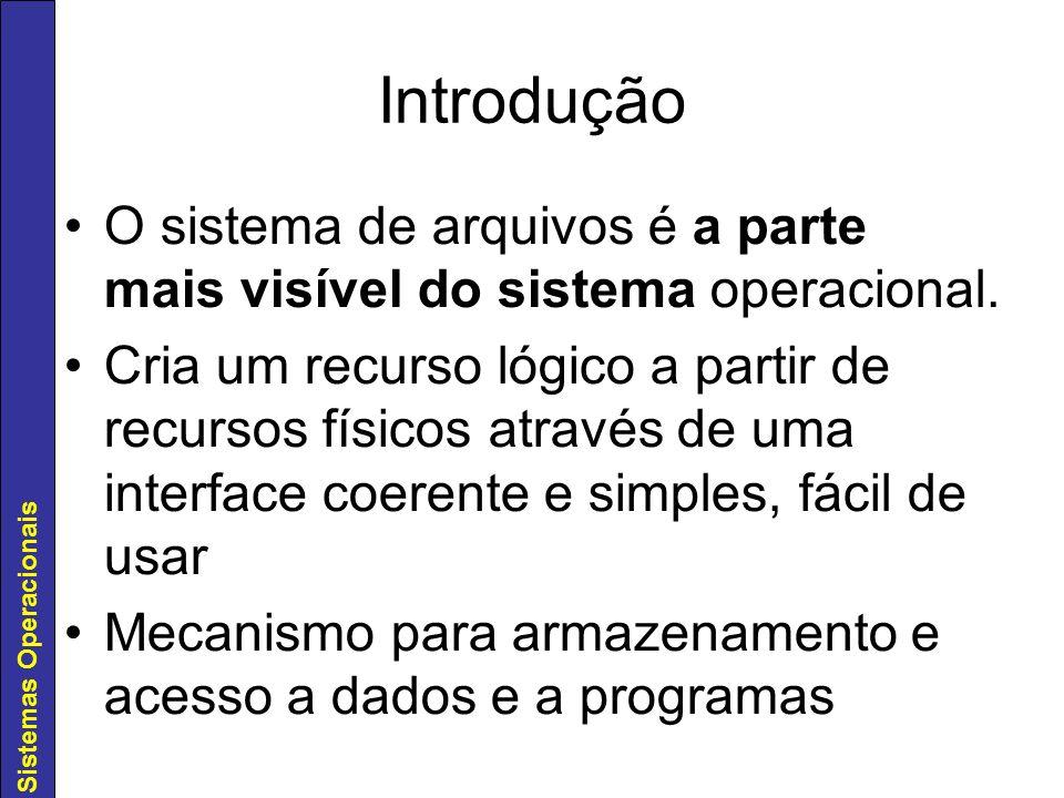 Sistemas Operacionais Duas partes básicas: –Arquivos - armazenamento de dados e de programas –Diretórios - organização e informações sobre arquivos Partição –permite - a partir do disco físico - criar discos lógicos