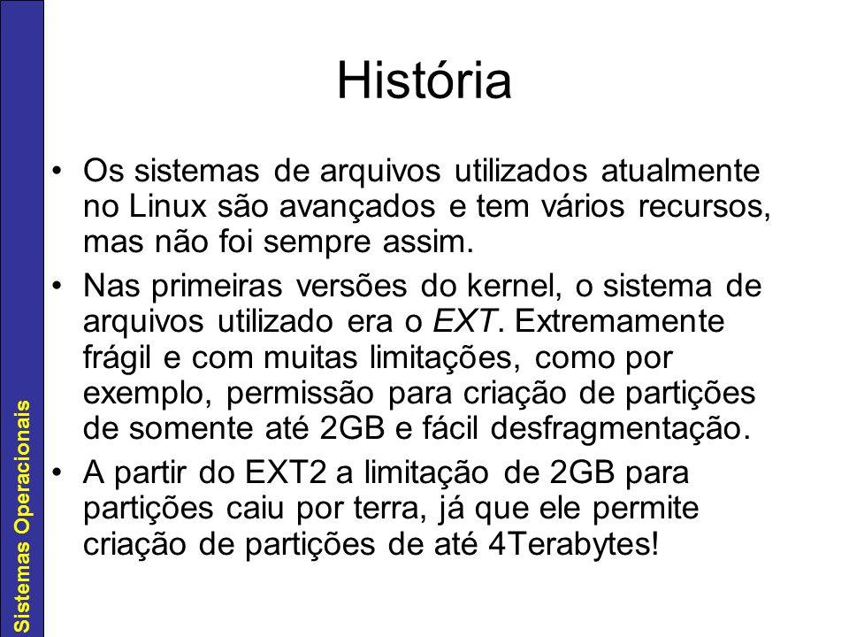 Sistemas Operacionais Sistema de Arquivos EXT2 Sem dúvida alguma o EXT2 foi uma evolução e tanto em relação ao EXT (suporte a regras de permissões bem definidas) Estrutura do EXT2: –Boot Block –Inodes –Diretórios –Links