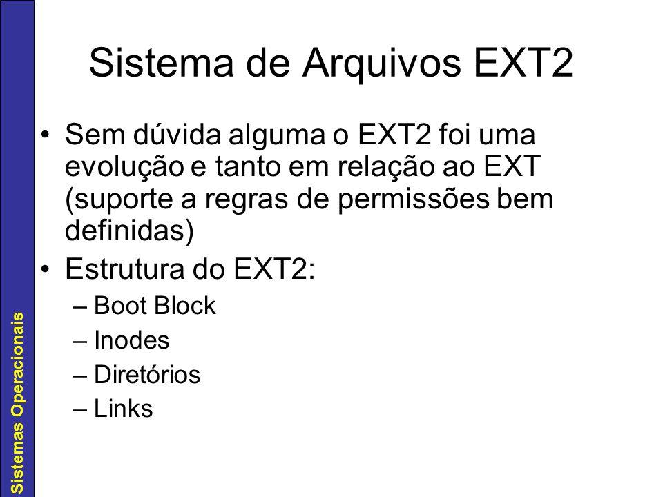 Sistemas Operacionais Sistema de Arquivos EXT2 Sem dúvida alguma o EXT2 foi uma evolução e tanto em relação ao EXT (suporte a regras de permissões bem