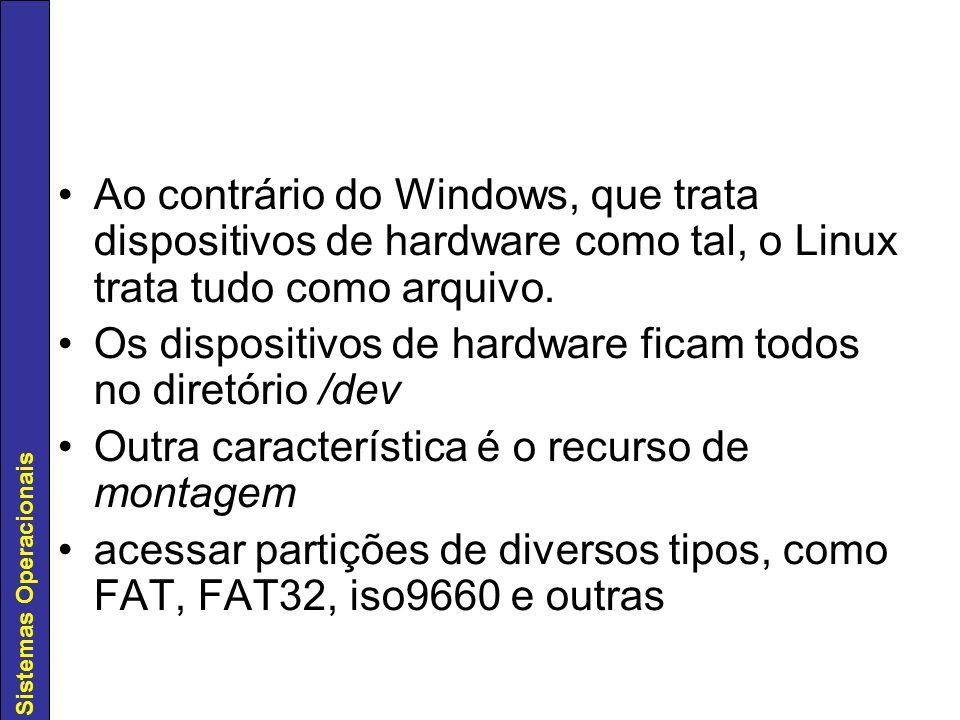 Sistemas Operacionais Ao contrário do Windows, que trata dispositivos de hardware como tal, o Linux trata tudo como arquivo. Os dispositivos de hardwa
