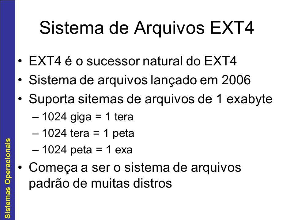 Sistemas Operacionais Sistema de Arquivos EXT4 EXT4 é o sucessor natural do EXT4 Sistema de arquivos lançado em 2006 Suporta sitemas de arquivos de 1
