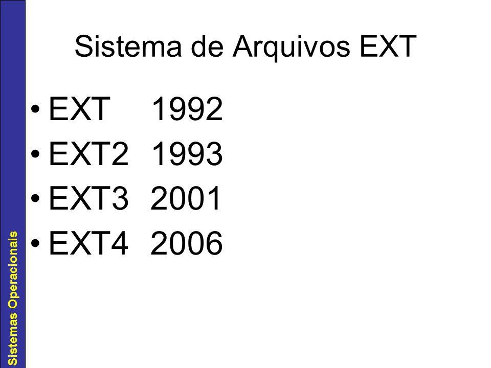 Sistemas Operacionais Sistema de Arquivos EXT EXT1992 EXT21993 EXT32001 EXT42006