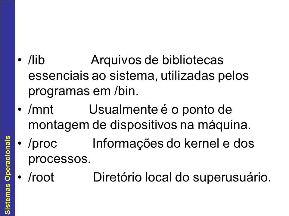Sistemas Operacionais /sbin Arquivos essenciais ao sistema.