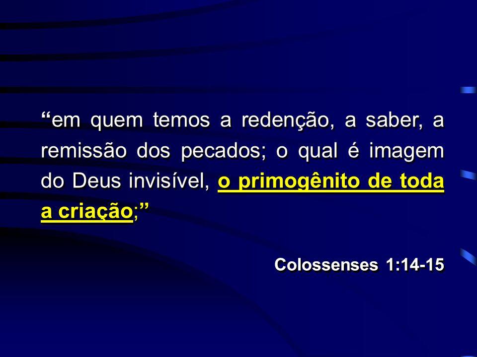 em quem temos a redenção, a saber, a remissão dos pecados; o qual é imagem do Deus invisível, o primogênito de toda a criação; Colossenses 1:14-15 em