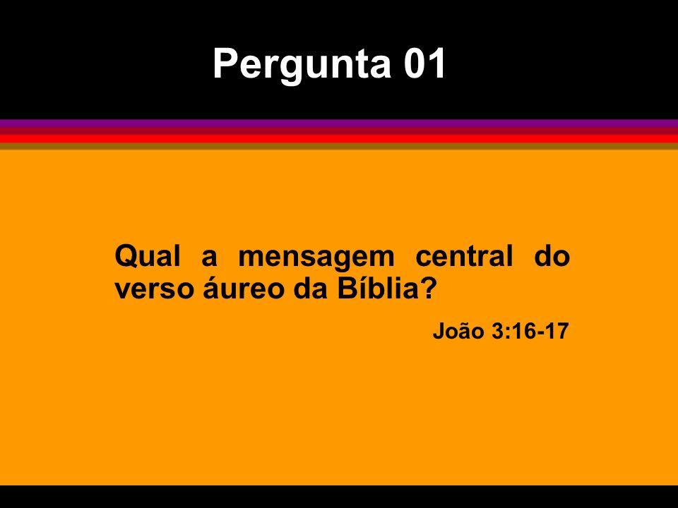 Qual a mensagem central do verso áureo da Bíblia? João 3:16-17 Pergunta 01