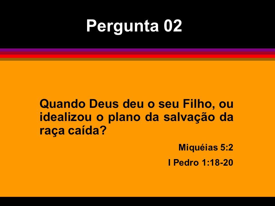 Quando Deus deu o seu Filho, ou idealizou o plano da salvação da raça caída? Miquéias 5:2 I Pedro 1:18-20 Pergunta 02