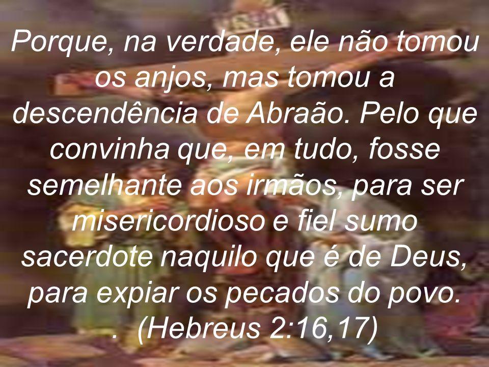 Porque, na verdade, ele não tomou os anjos, mas tomou a descendência de Abraão. Pelo que convinha que, em tudo, fosse semelhante aos irmãos, para ser
