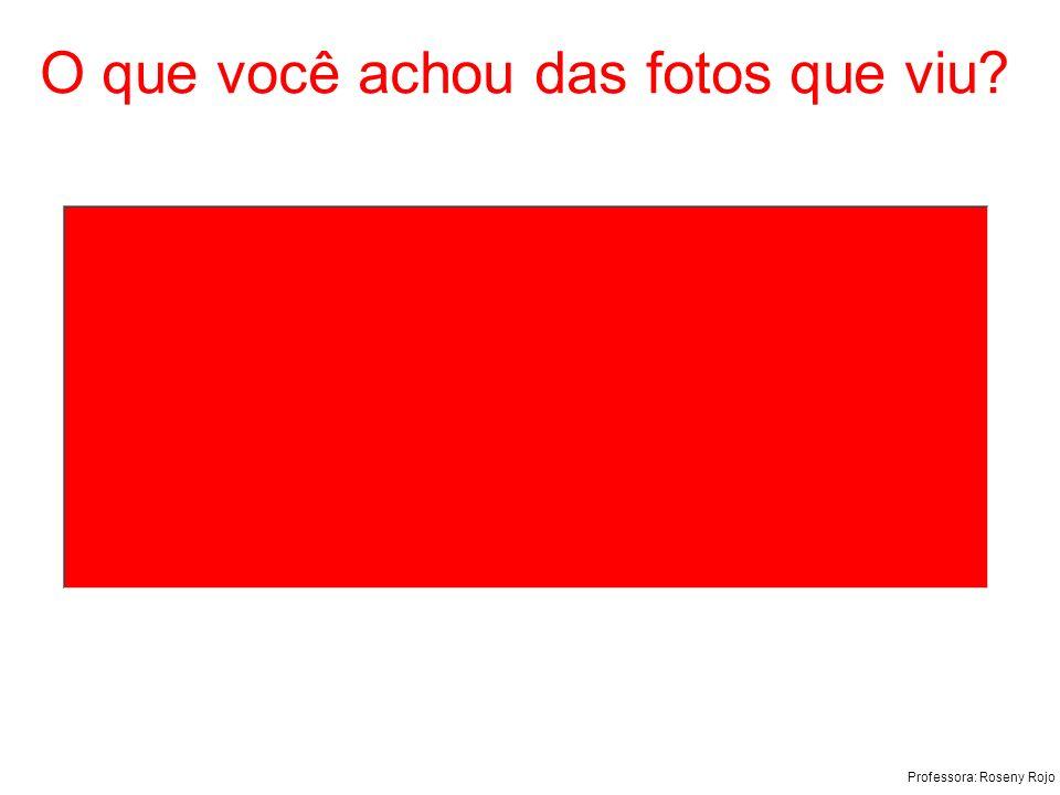 Professora: Roseny Rojo O que você achou das fotos que viu?