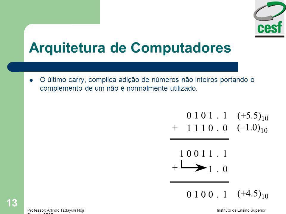 Professor: Arlindo Tadayuki Noji Instituto de Ensino Superior Fucapi - CESF 13 Arquitetura de Computadores O último carry, complica adição de números