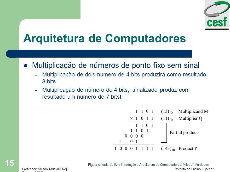 Professor: Arlindo Tadayuki Noji Instituto de Ensino Superior Fucapi - CESF 15 Arquitetura de Computadores Multiplicação de números de ponto fixo sem