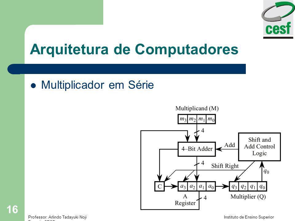 Professor: Arlindo Tadayuki Noji Instituto de Ensino Superior Fucapi - CESF 16 Arquitetura de Computadores Multiplicador em Série