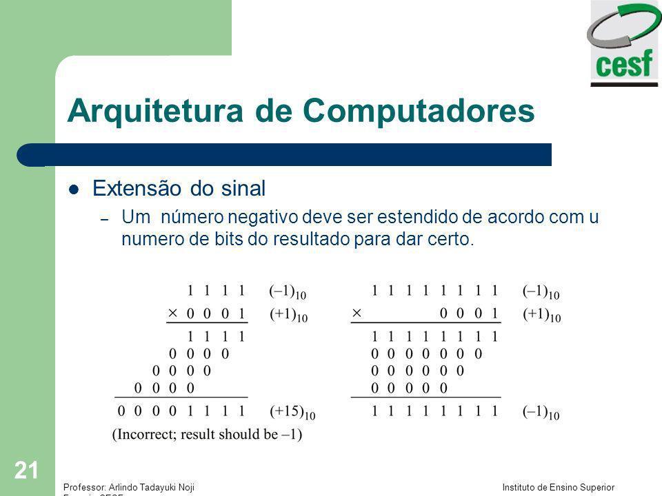 Professor: Arlindo Tadayuki Noji Instituto de Ensino Superior Fucapi - CESF 21 Arquitetura de Computadores Extensão do sinal – Um número negativo deve