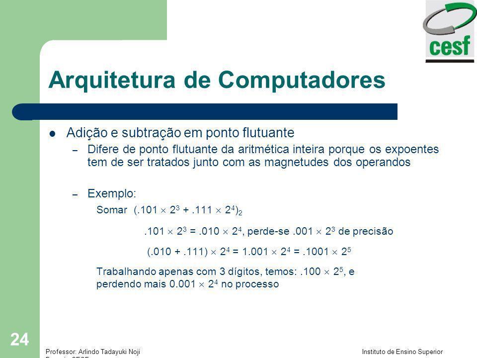 Professor: Arlindo Tadayuki Noji Instituto de Ensino Superior Fucapi - CESF 24 Arquitetura de Computadores Adição e subtração em ponto flutuante – Dif