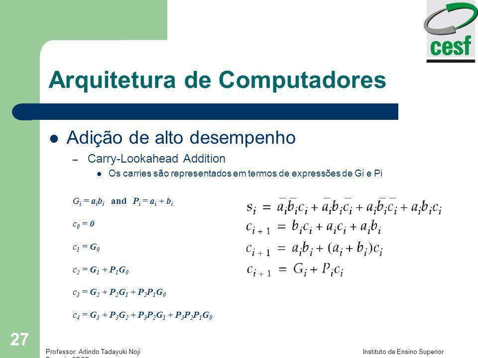 Professor: Arlindo Tadayuki Noji Instituto de Ensino Superior Fucapi - CESF 27 Arquitetura de Computadores Adição de alto desempenho – Carry-Lookahead