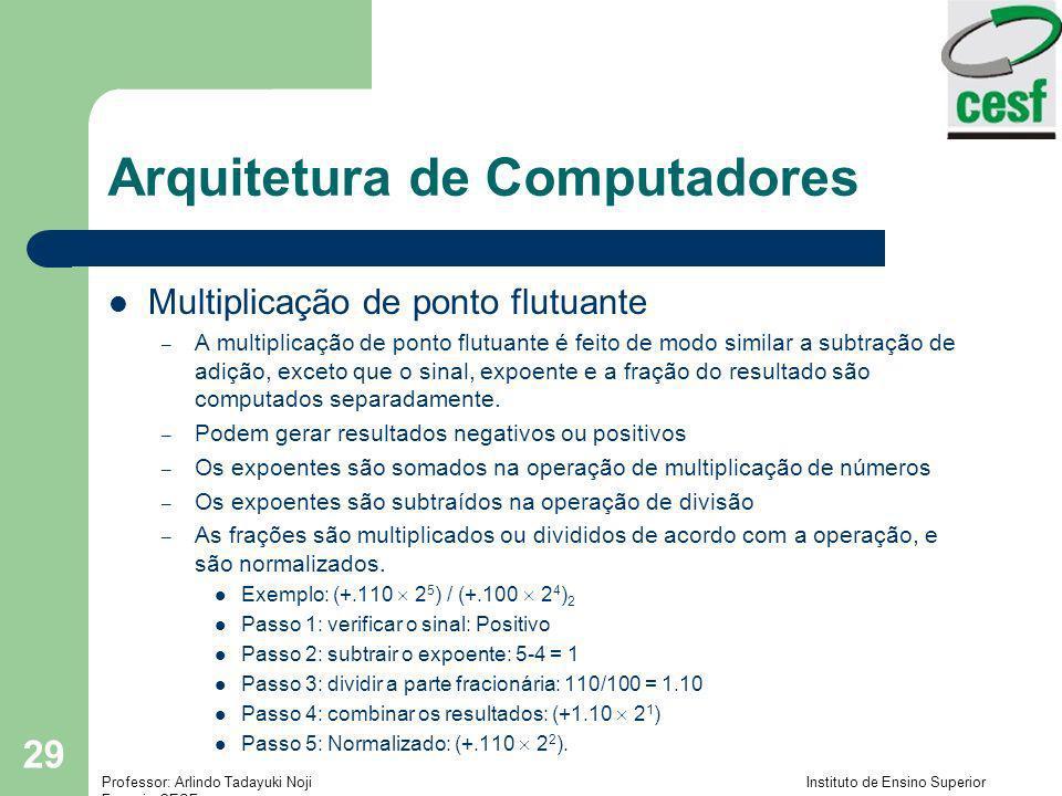 Professor: Arlindo Tadayuki Noji Instituto de Ensino Superior Fucapi - CESF 29 Arquitetura de Computadores Multiplicação de ponto flutuante – A multip
