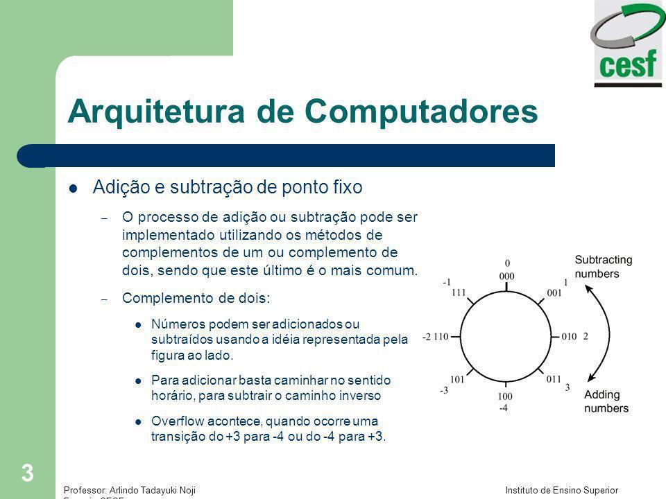 Professor: Arlindo Tadayuki Noji Instituto de Ensino Superior Fucapi - CESF 24 Arquitetura de Computadores Adição e subtração em ponto flutuante – Difere de ponto flutuante da aritmética inteira porque os expoentes tem de ser tratados junto com as magnetudes dos operandos – Exemplo: Somar (.101 2 3 +.111 2 4 ) 2.101 2 3 =.010 2 4, perde-se.001 2 3 de precisão (.010 +.111) 2 4 = 1.001 2 4 =.1001 2 5 Trabalhando apenas com 3 dígitos, temos:.100 2 5, e perdendo mais 0.001 2 4 no processo