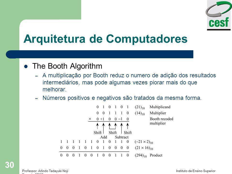 Professor: Arlindo Tadayuki Noji Instituto de Ensino Superior Fucapi - CESF 30 Arquitetura de Computadores The Booth Algorithm – A multiplicação por B