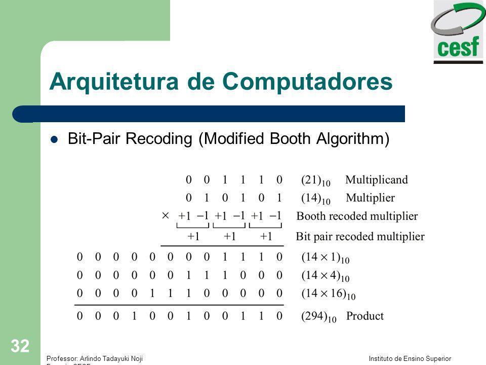 Professor: Arlindo Tadayuki Noji Instituto de Ensino Superior Fucapi - CESF 32 Arquitetura de Computadores Bit-Pair Recoding (Modified Booth Algorithm
