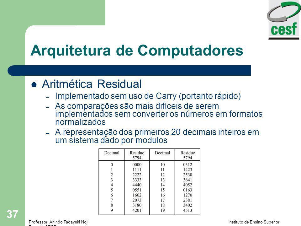 Professor: Arlindo Tadayuki Noji Instituto de Ensino Superior Fucapi - CESF 37 Arquitetura de Computadores Aritmética Residual – Implementado sem uso