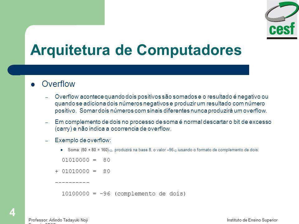 Professor: Arlindo Tadayuki Noji Instituto de Ensino Superior Fucapi - CESF 4 Arquitetura de Computadores Overflow – Overflow acontece quando dois pos
