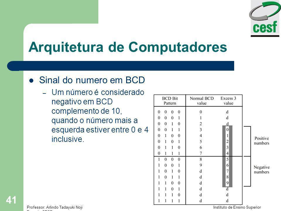 Professor: Arlindo Tadayuki Noji Instituto de Ensino Superior Fucapi - CESF 41 Arquitetura de Computadores Sinal do numero em BCD – Um número é consid