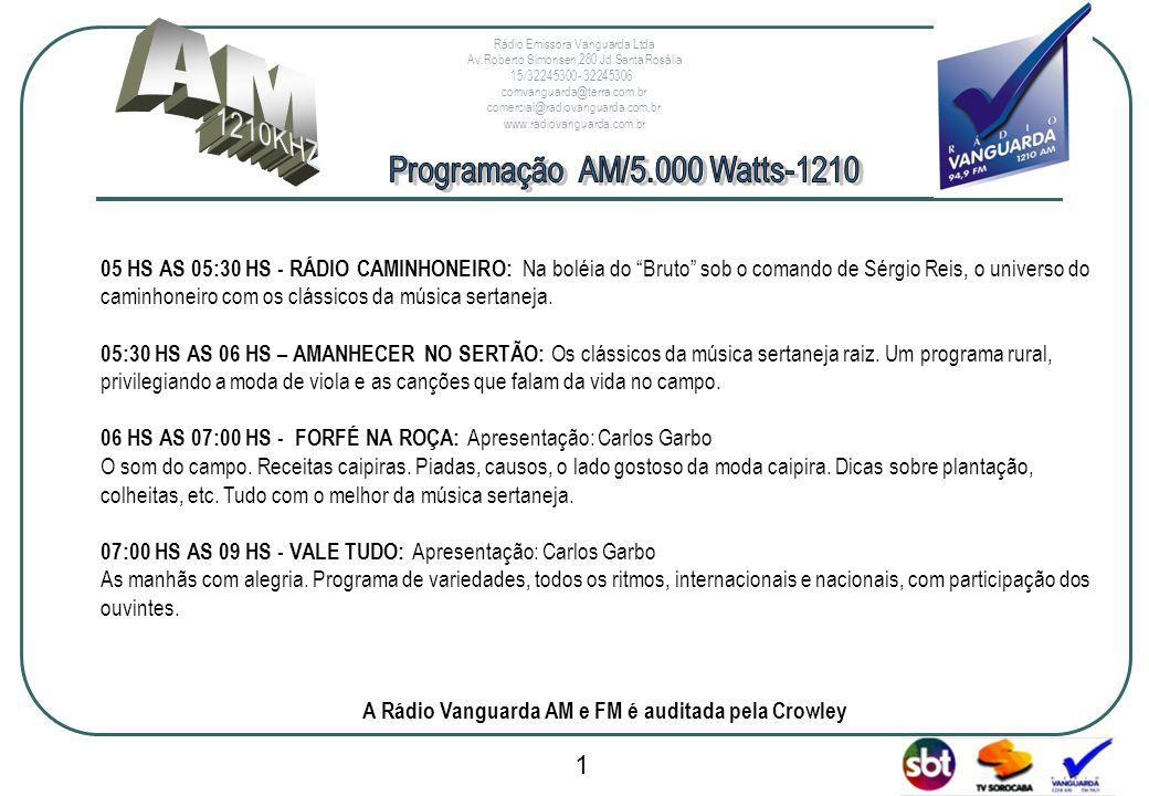 www.radiovanguarda.com.br 05 HS AS 05:30 HS - RÁDIO CAMINHONEIRO: Na boléia do Bruto sob o comando de Sérgio Reis, o universo do caminhoneiro com os c