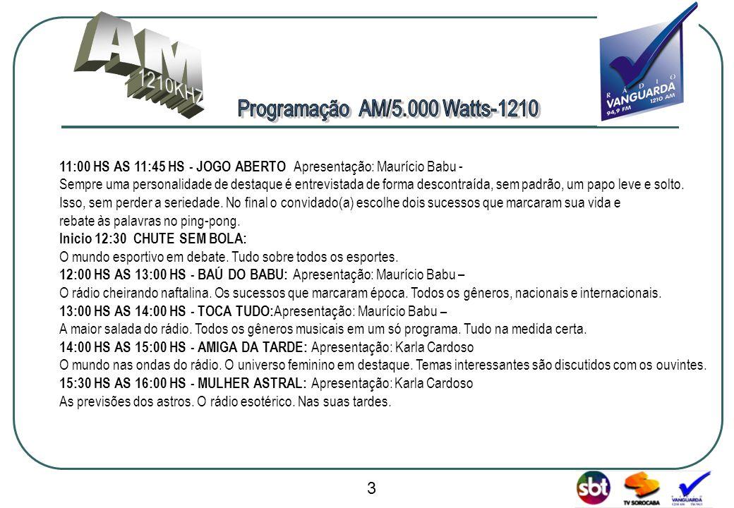www.radiovanguarda.com.br 11:00 HS AS 11:45 HS - JOGO ABERTO Apresentação: Maurício Babu - Sempre uma personalidade de destaque é entrevistada de form