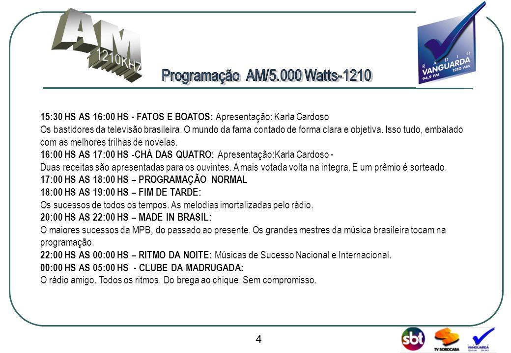 www.radiovanguarda.com.br 15:30 HS AS 16:00 HS - FATOS E BOATOS: Apresentação: Karla Cardoso Os bastidores da televisão brasileira. O mundo da fama co