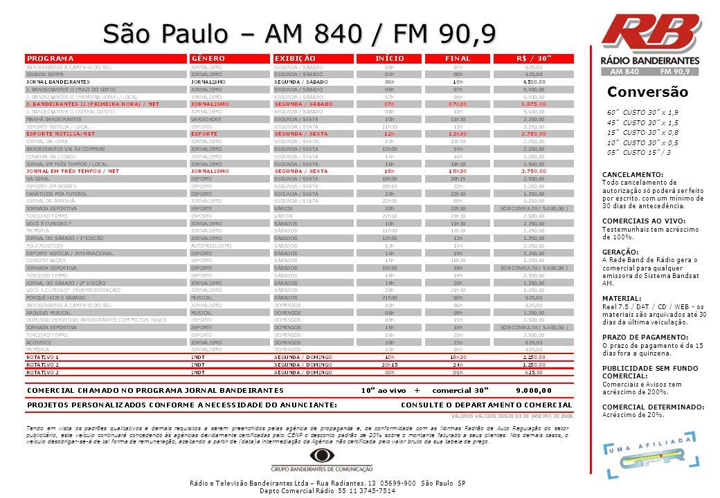 Rádio e Televisão Bandeirantes Ltda – Rua Radiantes, 13 05699-900 São Paulo SP Depto Comercial Rádio 55 11 3745-7514 São Paulo – AM 840 / FM 90,9 Conversão CANCELAMENTO: Todo cancelamento de autorização só poderá ser feito por escrito, com um mínimo de 30 dias de antecedência.