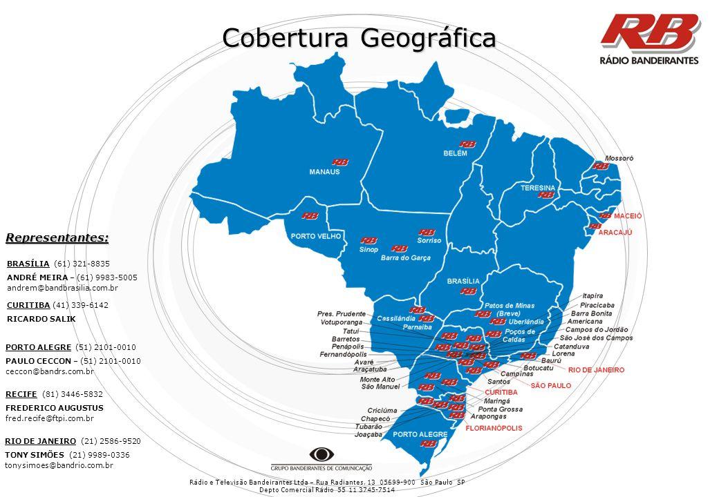 Rádio e Televisão Bandeirantes Ltda – Rua Radiantes, 13 05699-900 São Paulo SP Depto Comercial Rádio 55 11 3745-7514 Cobertura Geográfica CURITIBA (41