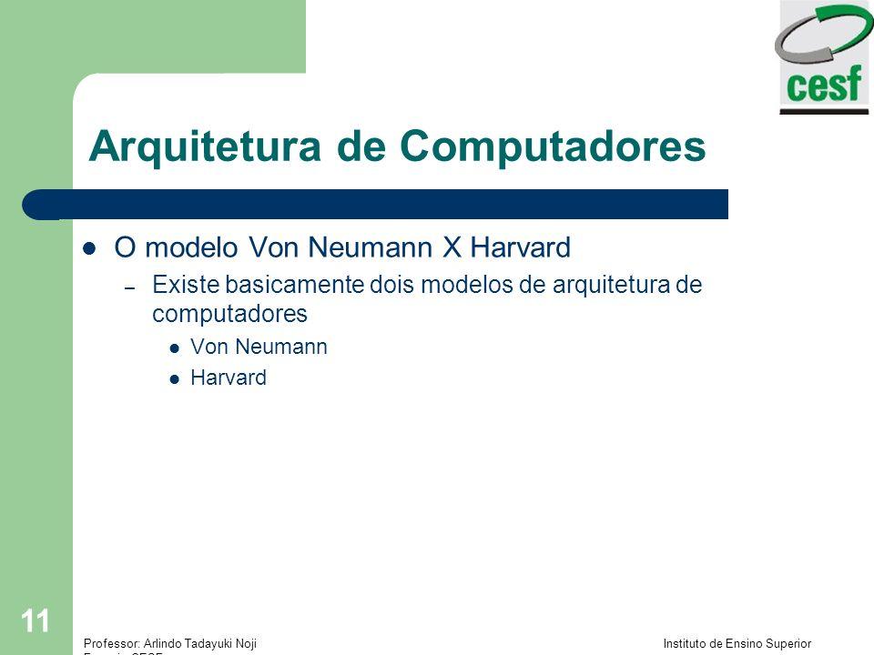 Professor: Arlindo Tadayuki Noji Instituto de Ensino Superior Fucapi - CESF 11 Arquitetura de Computadores O modelo Von Neumann X Harvard – Existe basicamente dois modelos de arquitetura de computadores Von Neumann Harvard