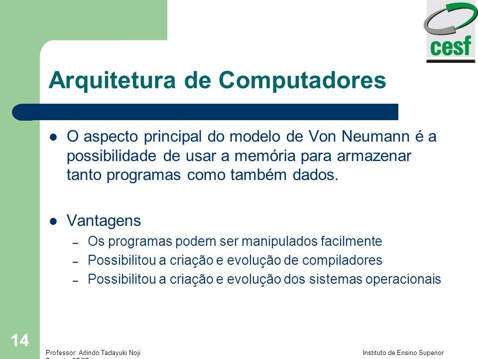 Professor: Arlindo Tadayuki Noji Instituto de Ensino Superior Fucapi - CESF 14 Arquitetura de Computadores O aspecto principal do modelo de Von Neumann é a possibilidade de usar a memória para armazenar tanto programas como também dados.