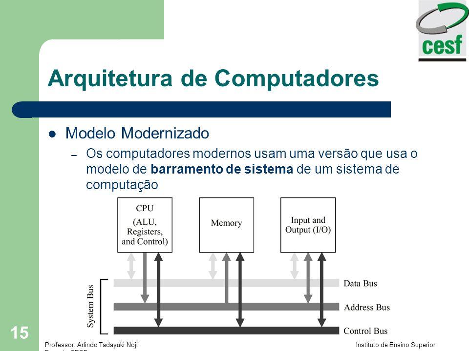 Professor: Arlindo Tadayuki Noji Instituto de Ensino Superior Fucapi - CESF 15 Arquitetura de Computadores Modelo Modernizado – Os computadores modernos usam uma versão que usa o modelo de barramento de sistema de um sistema de computação