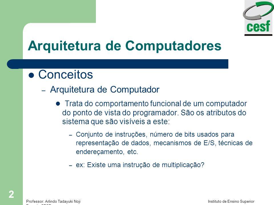 Professor: Arlindo Tadayuki Noji Instituto de Ensino Superior Fucapi - CESF 13 Arquitetura de Computadores O Modelo Von Neumann – Consiste em cinco componentes principais, como mostra a figura Unidade de entrada Unidade de memória Unidade aritmética e lógica Unidade de Controle Unidade Central de processamento (CPU)