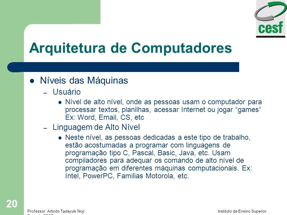 Professor: Arlindo Tadayuki Noji Instituto de Ensino Superior Fucapi - CESF 20 Arquitetura de Computadores Níveis das Máquinas – Usuário Nível de alto nível, onde as pessoas usam o computador para processar textos, planilhas, acessar Internet ou jogar games Ex: Word, Email, CS, etc – Linguagem de Alto Nível Neste nível, as pessoas dedicadas a este tipo de trabalho, estão acostumadas a programar com linguagens de programação tipo C, Pascal, Basic, Java, etc.