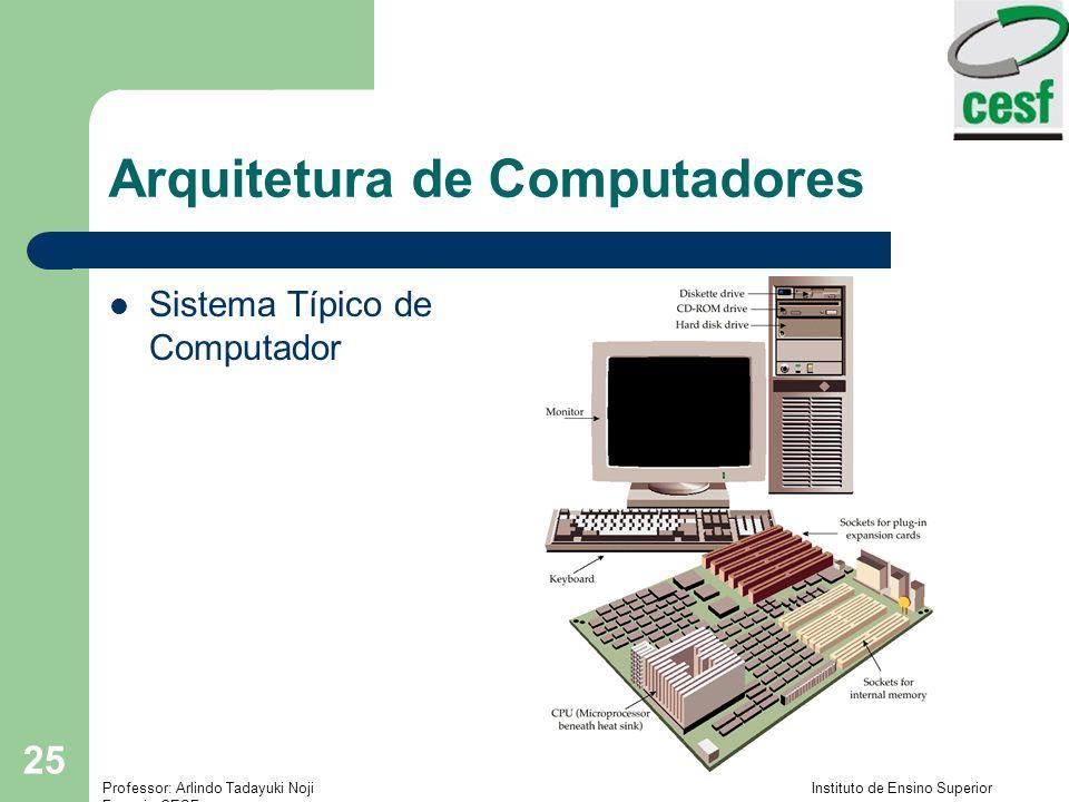 Professor: Arlindo Tadayuki Noji Instituto de Ensino Superior Fucapi - CESF 25 Arquitetura de Computadores Sistema Típico de Computador
