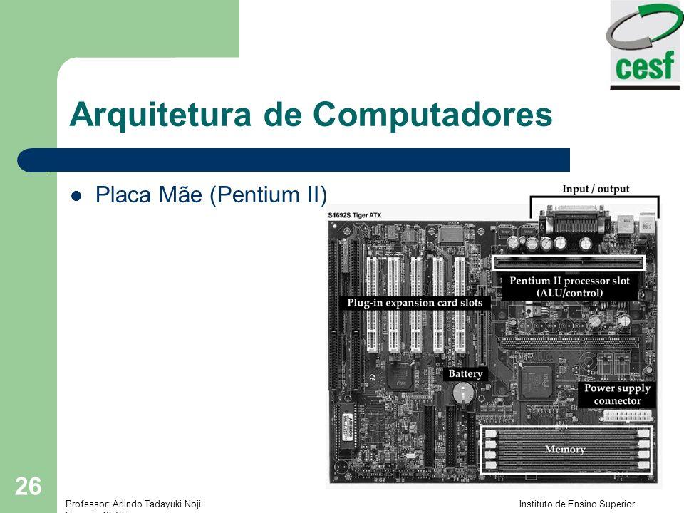 Professor: Arlindo Tadayuki Noji Instituto de Ensino Superior Fucapi - CESF 26 Arquitetura de Computadores Placa Mãe (Pentium II)