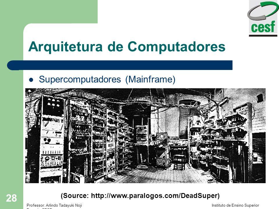 Professor: Arlindo Tadayuki Noji Instituto de Ensino Superior Fucapi - CESF 28 Arquitetura de Computadores Supercomputadores (Mainframe) (Source: http://www.paralogos.com/DeadSuper)